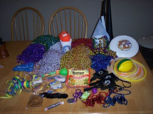 Mardi Gras loot from the MOTs.